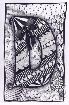 Zentangle Letter D ZebrA Letters name bunting door ForeverTangles Doodle Alphabet, Doodle Art Letters, Doodle Art Journals, Doodle Lettering, Lettering Design, Hand Lettering, Zentangle Drawings, Doodles Zentangles, Zentangle Patterns