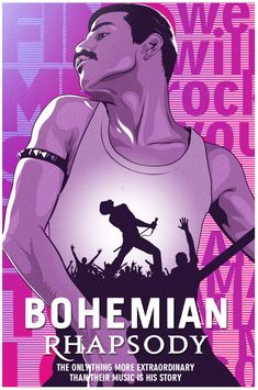 """Bohemian Rhapsody"", Directed by Bryan Singer. The story of the legendary rock band Queen and lead singer Freddie Mercury, leading up to their famous performance at Live Aid Queen Freddie Mercury, Movie Poster Art, Film Posters, Rock Posters, Rock And Roll, Bambi Disney, Queen Poster, Queen Art, We Will Rock You"