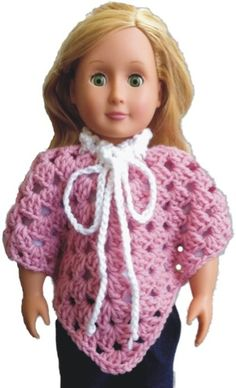 "Free Granny Poncho Pattern for your 18"" girl dolls."