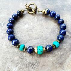 Lapis lazuli and turquoise bracelet, lapis lazuli jewelry, dark lazuli bracelet, This bracelet is a symbol of wisdom and truth. Gemstone Bracelets, Bracelets For Men, Handmade Bracelets, Gemstone Jewelry, Jewelry Bracelets, Handmade Jewelry, Necklaces, Metal Jewelry, Boho Jewelry