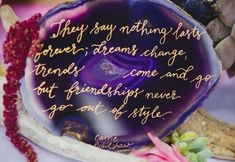 Geode wedding sign with quote by Carrie Bradshaw | A Colorful Bohemian Bridesmaid Picnic by Just For Love Photography & Film via TrueBlu