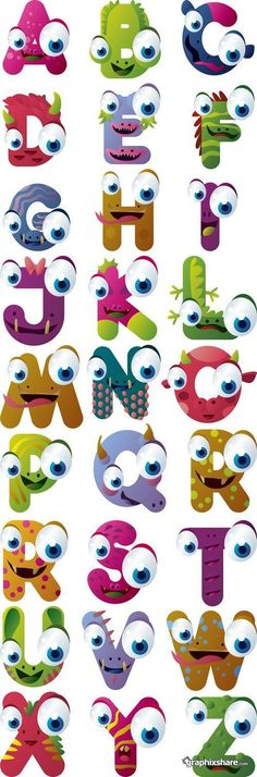 "Pinner says, ""I want to do this alphabet for Z's room if we go with the monster theme. Just can't find a finished poster of it. Monster Party, Monster Room, Monster Book Of Monsters, Monster Eyes, Alphabet Art, Alphabet And Numbers, Letter Art, Typography Alphabet, Classroom Themes"