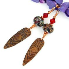 Copper Points Lampwork Handmade Tribal Earrings Red Swarovski Jewelry  | ShadowDogDesigns - Jewelry on ArtFire