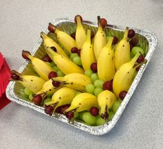 dolphins made from bananas and grapes! Great idea after reading an ocean animal selection.