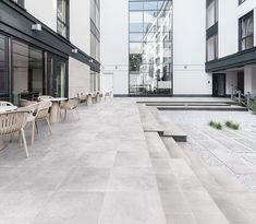 Ceramic proposals for outdoor spaces. One Pearl model #ceramics #porcelain #terraces #tiles #outdoor Terrace Tiles, Rooftop Terrace, Lounge Areas, Outdoor Spaces, Outdoor Decor, Sun Stone, Sidewalk, Home And Garden, New Homes