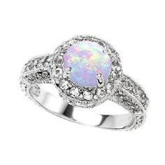 opal and diamond wedding ring | Opal and diamond engagement rings - Diamond Forever Jewelry