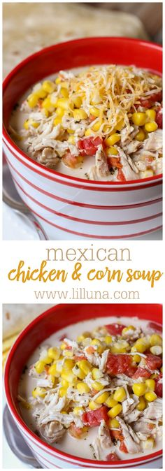 Delicious Mexican Chicken and Corn Soup - this recipe is so simple and can be made in 20 minutes! Corn Soup, Mexican Chicken, Chili, Soup Recipes, Simple, Canning, Food, Corn Chowder, Chile