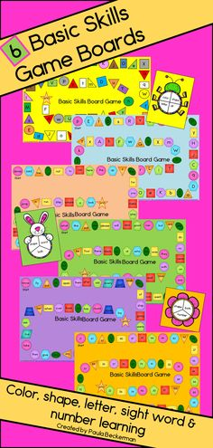 """Make skills practice FUN with 6 brightly colored Basic Skills Board Games! Students will think they are """"just playing"""" as they practice identifying colors, shapes, letters, sight words and reading 2 digit numbers. With 6 different boards that cover different skills, one is sure to be just right for your primary grade students. Easily differentiate by referring to the included chart that identifies which skills each board covers. TpT $"""