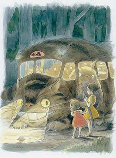 "Cat Bus from the movie ""My Neighbor Totoro"" by Hayao Miyazaki (Studio Ghibli) Art Studio Ghibli, Studio Ghibli Films, Hayao Miyazaki, Illustrations, Illustration Art, Manga Anime, Anime Art, Chibi, Natsume Yuujinchou"