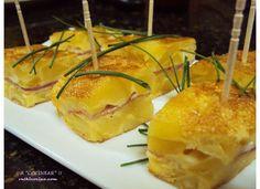 Tortilla de patatas rellena de jamón cocido y queso