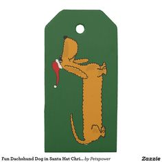 Fun Dachshund Dog in Santa Hat Christmas Gift Tag
