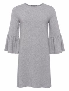 Textured shift style dress by French Connection featuring round neckline, length frilled peplum sleeve and free falling loose