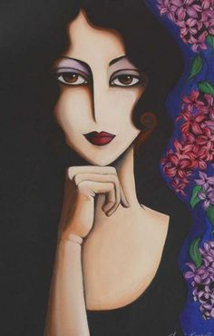 Lilac Lady - Painting by Yasemin Karabenli - lilac, lady, girl, woman, flower Arte Pop, Art And Illustration, Great Works Of Art, Painting People, Art Original, Portrait Art, Face Art, Indian Art, Art Girl