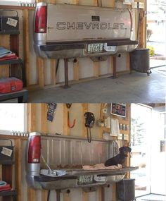 Love this idea for a bench in the garage! Good spot for the dogs to sit!