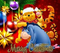 Christmas - Disney - Winnie-The-Pooh & Friends - Merry Christmas Tigger And Pooh, Cute Winnie The Pooh, Winne The Pooh, Winnie The Pooh Quotes, Winnie The Pooh Friends, Pooh Bear, Eeyore Pictures, Winnie The Pooh Pictures, Disney Christmas Decorations