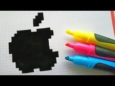 Handmade Pixel Art - How To Draw Logo Apple - pixel art - Pixel Art, Art Drawings, Drawings, Box Art, Pixel Drawing, Graph Paper Art, Art Logo, Youtube Art, Pix Art