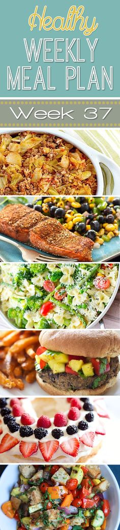 A delicious mix of healthy entrees, snacks and sides make up this Healthy Weekly Meal Plan #37 for an easy week of nutritious meals your family will love! #Healthy #MealPlan