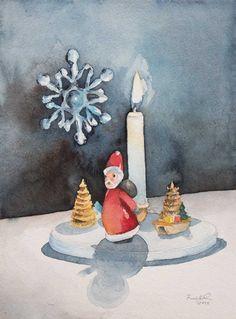 Advent, Advent ein Lichtlein brennt (c) Aquarell von Frank Koebsch