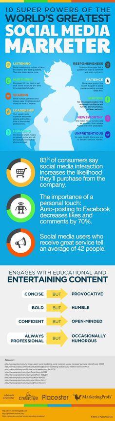 Hvis din marketingmedarbejder besidder to af de ti sociale superkræfter, er din virksomhed godt hjulpet på de sociale medier.