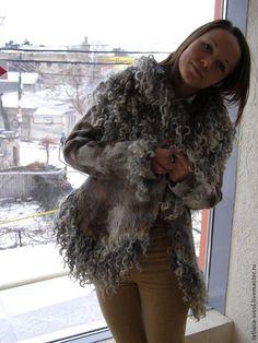 """Купить Пальто-шубка """"Чудеса"""" - серебряный, верхняя одежда, пальто, пальто женское, пальто на подкладе"""