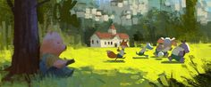Early concept study for The Dam Keeper by Dice Tsutsumi. Art And Illustration, Landscape Illustration, Environment Painting, Environment Concept Art, Animation Background, Art Background, Storyboard, Chiara Bautista, Color Script