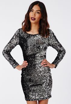 Black Long Sleeve Sequined Bodycon Mini Dress 21.67