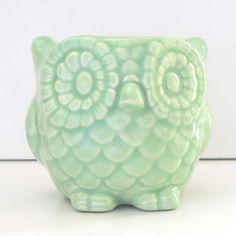 Ceramic Mini Owl Desk Planter Vintage Design in Celadon. $25.00, via Etsy.