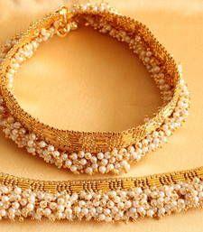 Buy Beautiful goldtone royal pearlcluster bridal anklets anklet online
