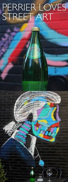 For over a century, Perrier has collaborated with the world's most famous artists, including Warhol and Dali. Now, Perrier is partnering with contemporary street artists, like L'Atlas. This L'Atlas bottle sits in front of a mural by NYC-based street artist Bradley Theodore, well known for his depictions of fashions' favorites like Anna Wintour and Karl Lagerfeld. Take a look at our growing collection of street art on the blog.
