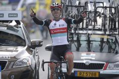 Fabian Cancellara (RadioShack Leopard) had plenty of time to celebrate his Tour of Flanders victory.
