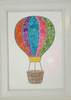 Hot Air Balloon Picture Button Art Nursery orange blue pink purple yellow green wall picture