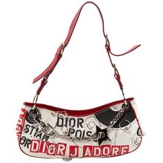 Pre-owned Dior Cloth Mini Bag (€345) ❤ liked on Polyvore featuring bags, handbags, red, pre owned bags, miniature purse, white bag, pre owned handbags and red bag