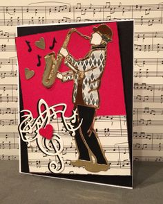 L❤️VE these new dies from Tonic Studios ~ Rococo Saxophone Solo, Treble Clef & Musical Notes (inside). My first card, a Valentine's card for my Uncle Lou, a real sax man.