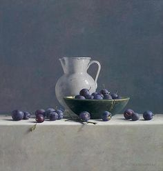 Plum with a white jar by Henk Helmantel, Dutch painter