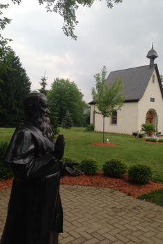 Father Kentenich statue (founder) and Schoenstatt Shrine.