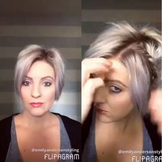 @Regrann from @emilyandersonstyling - #shorthairtutorialmonday coming at you with a few vertical twists and some messy bed head hair. I need my cut and color done sooooo bad .!This is parted on my opposite side btw. Open up your Bobby pin and push it up vertically into the twist for a secure hold. Used the @kenraprofessional Dry Texture Spray and Hi Def Hairspray. #nothingbutpixies #kenraprofessional #hairvids #rootsfordays #shorthair #emilyandersonstyling - #regrann