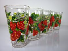 Vintage gold rimmed strawberry tumblers set of 5