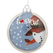 Snowman With Cardinal And Chickadee Glass Disc Ornament