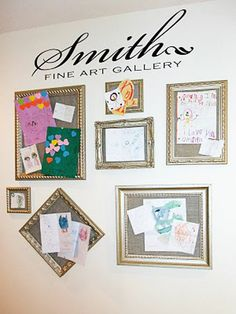 Ideas to Display Kid's Artwork: Create your own art gallery. Frame pieces of corkboard in a variety of frames and then paint it all out in a shimmering metallic. Use decorative pins to attach each piece of artwork. Custom printed vinyl letters are used to further personalize the space.