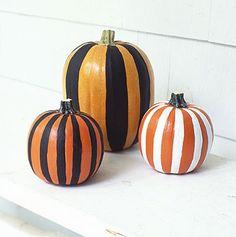 Striped pumpkins - polka dots would be cute too!