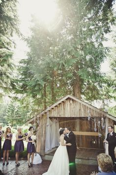 This couple decorated the trees around their ceremony site with chandeliers and votive holders filled with flower petals. Woodsy Wedding, Wedding Day, Vintage Wedding Photos, Dress Cake, Flower Petals, Celebrity Weddings, Real Weddings, Wedding Planning, Wedding Decorations