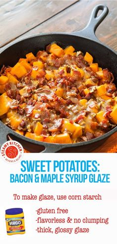 Roasted Sweet Potatoes with Bacon & Maple Syrup Glaze #argocornstarch #ad