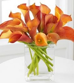 Calla Lillies! Love this in a square vase, perfect for table settings!