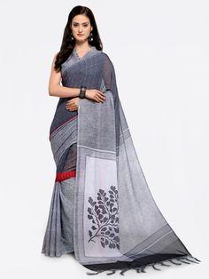 Grey Saree, Party Wear Sarees, Saree Wedding, Cotton Saree, Sarees Online, Sari, Skirts, Fashion, Saree