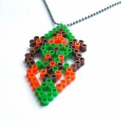 Pixel Tribe Hama Bead Necklace in orange brown by RetroidStudio