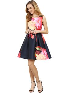 ROMWE Women's Vintage Sleeveless Fit and Flare Floral Party Cocktail Dress at Amazon Women's Clothing store: