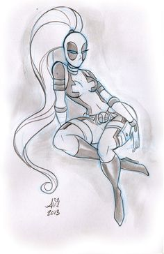 Daily Quick Sketches: Lady Deadpool week4 by mainasha