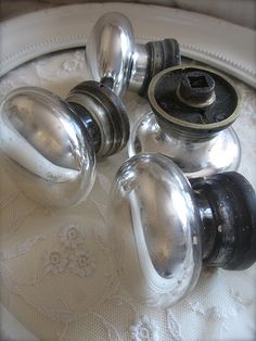 "Mercury Glass Door Knobs - Nancy, you might want to follow this lady's board ""My Mercury Glass Collection."""