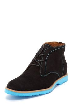 J.D. Fisk Viego Black Suede Boot with Blue Sole