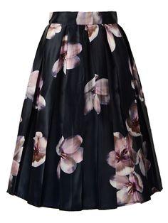 Navy Blue Pleated Floral Print Midi Skirt   Choies
